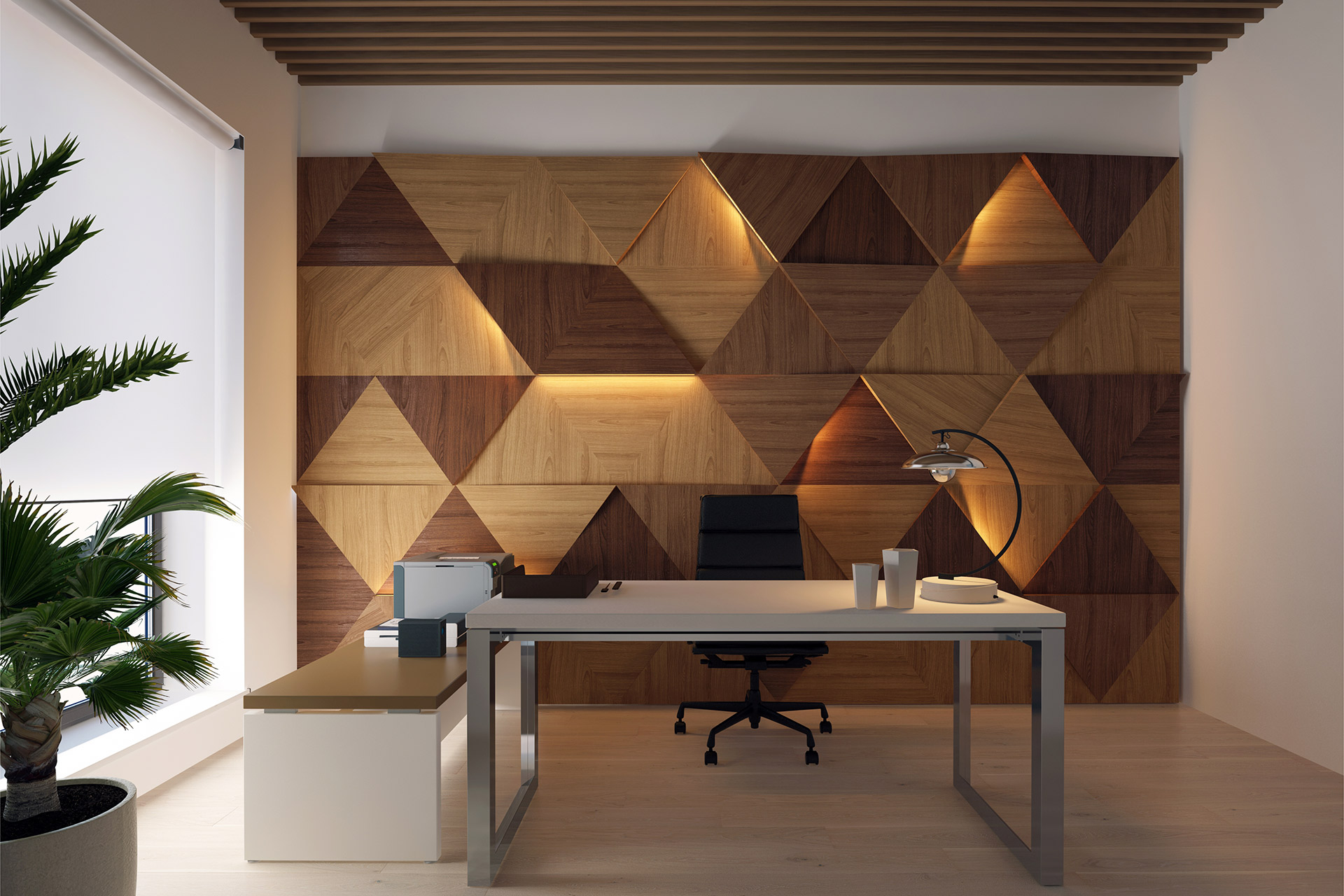 Exercise of style, composition of veneers applied to wall